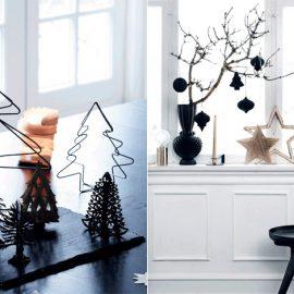 Οι ανατρεπτικοί τύποι θα λατρέψουν μία μίνιμαλι χριστουγεννιάτικη διακόσμηση σε λευκό και μαύρο, όπως τις μινιατούρες δέντρου ή τα μαύρα διακοσμητικά με πινελιές χρυσού