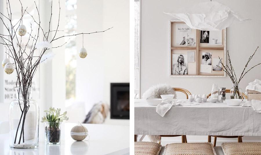 Το σκανδιναβικό στιλ και στην πασχαλινή διακόσμηση! Δημιουργήστε μία κεντρική σύνθεση με γυμνά κλαριά και λευκά αβγουλάκια και πούπουλα ή ένα τραπέζι όλο στα λευκά!