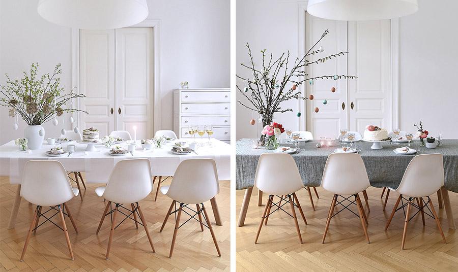Ένα μίνιμαλ τραπέζι μπορεί να «παίξει» με διαφορετικές υφές, πινελιές χρώματος και μία εντυπωσιακή κεντρική διακόσμηση