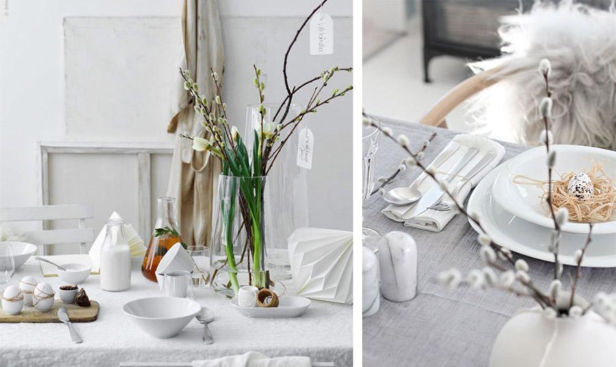 Λιτή αισθητική με λευκά κεραμικά ή πορσελάνινα σερβίτσια και λινό τραπεζομάντιλο. Δέστε γύρω από τα αβγά του ντεκόρ λίγο σπάγκο και τοποθετήστε τα πάνω σε ξύλο κοπής // Μία χαριτωμένη ιδέα είναι να βάψετε τα αβγά σας με αφαιρετικές μαύρες πινελιές και να τα τοποθετήσετε σε μία «φωλιά» από αποξηραμένα χόρτα