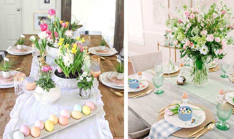 Φέρτε την άνοιξη στο πασχαλινό τραπέζι με παστέλ βαμμένα αβγά και ανάλογα λουλούδια πάνω σε ένα ξύλινο τραπέζι με ένα λευκό ράνερ // Συνδυάστε παστέλ αποχρώσεις και διαφορετικά μοτίβα όπως μονοχρωμία και καρό