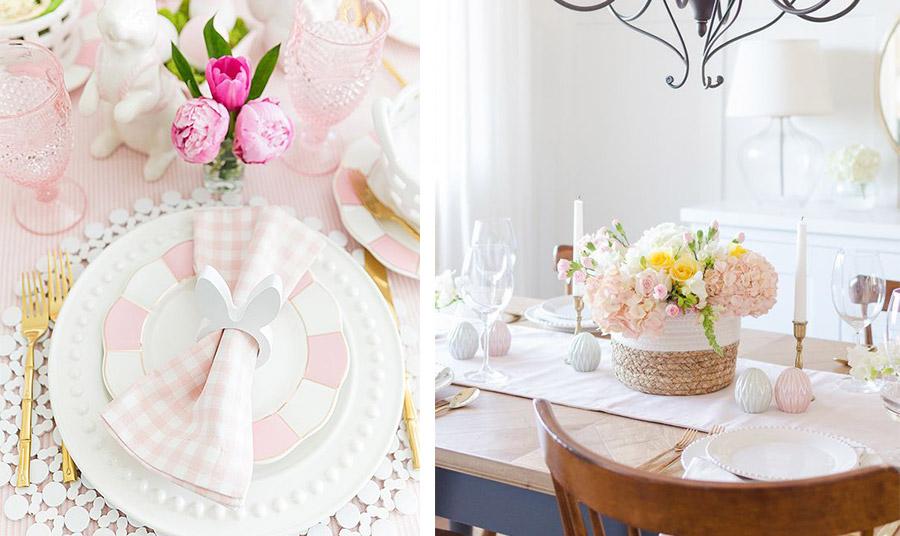 Η γλυκύτητα του ανοιξιάτικου ροζ! Ο συνδυασμός με λευκό και πινελιές χρυσού κάνει το αποτέλεσμα πολυτελές και κομψό. Έξτρα ντεκόρ τα δαχτυλίδια για τις πετσέτες σαν λαγουδάκια και τα ροζ ποτήρια // Παστέλ ροζ ράνερ, λευκά και ροζ διακοσμητικά αβγά και ένα απλό αλλά υπέροχο καλάδι με χαμηλά λουλούδια και λευκά κεριά