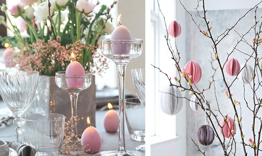 Μην παραλείψετε τα κεριά στην απόχρωση της παλέτα που θα χρησιμοποιήσετε, αν έχουν και το σχήμα αβγού ακόμη καλύτερα! // Κλαδιά με ανοιξιάτικα μπουμπούκια και χάρτινα αβγά δημιουργούν ένα ωραίο, μίνιμαλ ντεκόρ