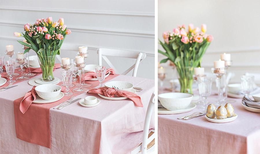 Οι τουλίπες είναι πολύ όμορφες στο πασχαλινό τραπέζι. Χρησιμοποιήστε ροζ και κοραλί που είναι ό,τι πιο trendy στο χρώμα φέτος σε συνδυασμό με λευκά σερβίτσια και κεριά