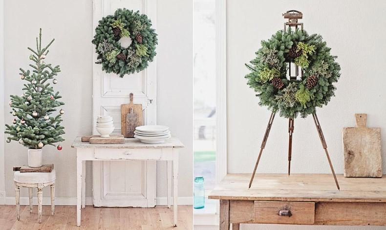 Σκανδιναβική έμπνευση: Λιτή διακόσμηση με ένα μικρό φρέσκο δέντρο ή ένα εντυπωσιακό στεφάνι στημένο σε καβαλέτο