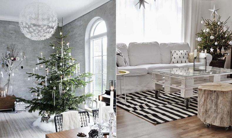 Μίνιμαλ δέντρα αλλά με τόση κομψότητα. Οι ασημένιες και λευκές νότες δίνουν τον τόνο, ενώ αν διαλέξετε κρυστάλλινα διακοσμητικά για το δέντρο θα δίνουν λάμψη στο φως των κεριών