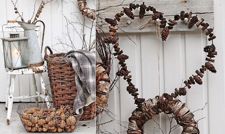 Μία πιο ρουστίκ ιδέα, δημιουργίες από ξηρούς καρπούς, αποξηραμένα κουκουνάρια, σε πολύ απλά σκεύη δημιουργούν μία λιτή αλλά πολύ γοητευτική διακόσμηση