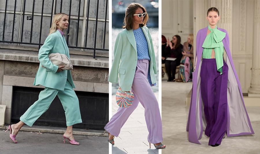 Συνδυάστε την απόχρωση της μέντας με παστέλ ροζ και το χρώμα της άμμου για ένα σοφιστικέ λουκ // Παστέλ μοβ και γαλάζιο με ένα σακάκι παστέλ πράσινο και πολύχρωμη τσάντα για ένα φρέσκο ανοιξιάτικο στιλ // Θέλετε να εντυπωσιάσετε; Συνδυάστε το με αποχρώσεις του μοβ!