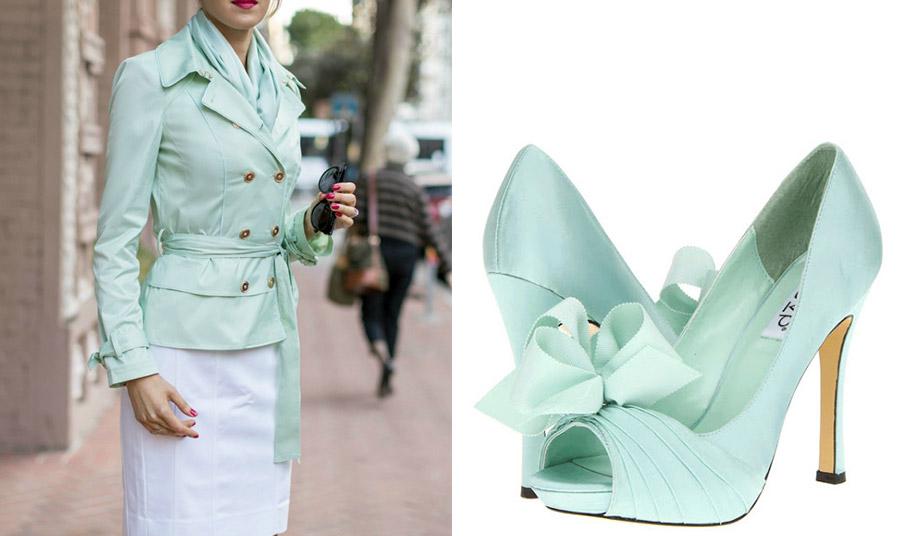 Ένα κομψό σακάκι και φουλάρι στην απόχρωση της μέντας με μία λευκή φούστα σε ίσια γραμμή είναι μία εξαιρετική επιλογή για το γραφείο // Θα έμεναν τα παπούτσια εκτός; Όχι βέβαια!