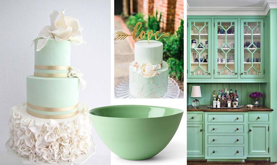 Το neo mint «εφαρμόζεται» ακόμη και στις νυφικές τούρτες της μόδας! // Διακοσμητικά αντικείμενα και ολόκληρα έπιπλα αποπνέουν μία νέα αίσθηση φρεσκάδας μέντας!