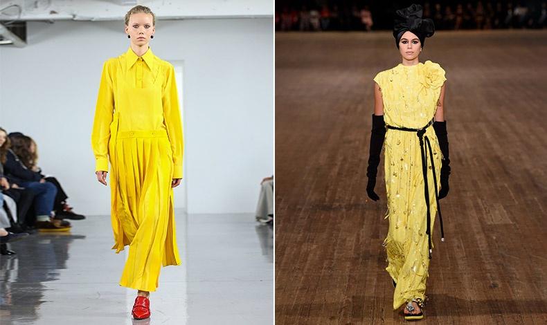 Αν το κίτρινο στην ντουλάπα σας είναι και αυτό σε μικρές έως ανύπαρκτες δόσεις, καλύτερα να ξεκινήσετε σιγά σιγά. Συνδυάστε το εκτυφλωτικό κίτρινο με κόκκινο, Simone Rocha // Κίτρινο μακρύ φόρεμα με μαύρο, Marc Jacobs