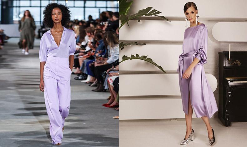 Παντελόνι και πουκάμισο στο χρώμα της λεβάντας, Tibi // Σατέν φόρεμα σε μοβ απόχρωση, Victoria Hayes