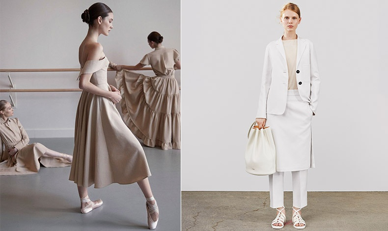 Μπεζ, καφέ και κρεμ θα κατακλύσουν τις ντουλάπες μας τη φετινή χρονιά. Φόρεμα σε μπεζ με έμπνευση από τις μπαλαρίνες, Co // Στις αποχρώσεις του λευκού-κρεμ, Jil Sander