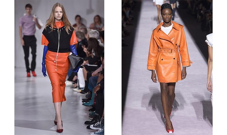 Η εισβολή του πορτοκαλί! Στις πασαρέλες του Calvin Klein (αριστερά) και του Tom Ford (δεξιά) η κυριαρχία του είναι ξεκάθαρη!