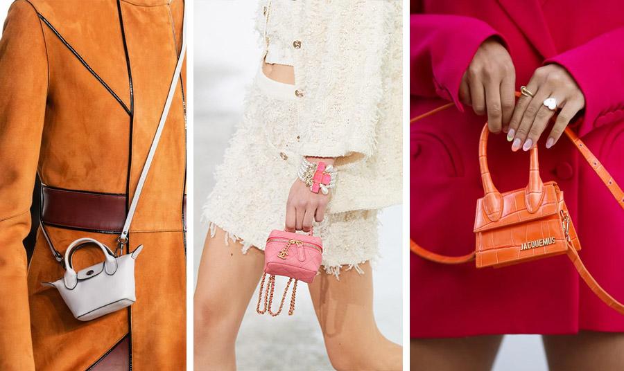Οι μικροσκοπικές τσάντες δημιούργησαν μεγάλο ενδιαφέρον, αλλά δεν είναι βολικές. Από τις νέες συλλογές άνοιξη-καλοκαίρι 2021: Chanel // Longchamps // Jacqemus