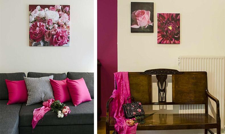 Ο μοντέρνος γκρι καναπές σας καλεί να καθίσετε αναπαυτικά στα μαλακά μαξιλαράκια του, ενώ παίρνει μία ρομαντική νότα από τα υπέροχα ροζ και φούξια τριαντάφυλλα που κρέμονται στον τοίχο από επάνω του // Ένα παλιό ξύλινο καναπεδάκι στην είσοδο του διαμερίσματος