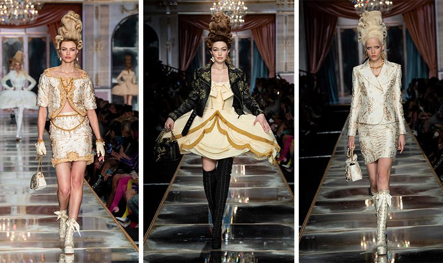 Η βασίλισσα της Γαλλίας αλλά και η ταινία της Σοφίας Κόπολα χρησίμευσαν ως πηγή έμπνευσης για τον Jeremy Scott. Χρυσοποίκιλτα υφάσματα και στενά σακάκια εκφράζουν την εποχή ροκοκό