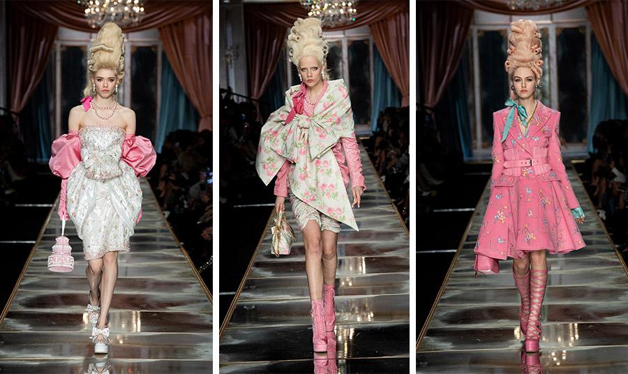 Αποχρώσεις ροζ, βεραμάν, μοναδικά παπούτσια και χτενίσματα «εποχής» σε μία συλλογή που όχι μόνο δεν είναι χαριτωμένη ή γλυκανάλατη, αλλά απολύτως ανατρεπτική στα χέρια του Jeremy Scott