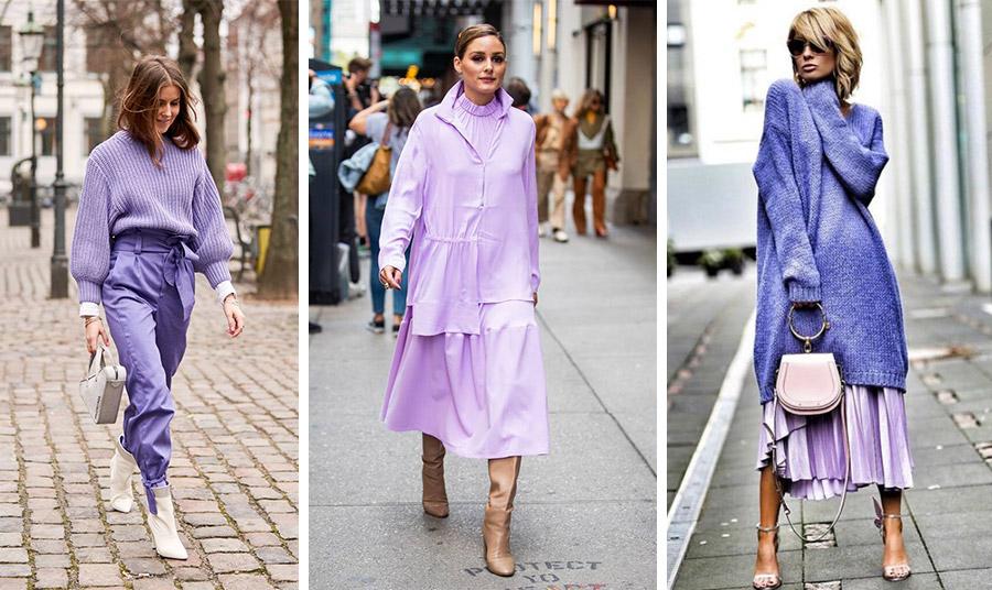 Στο μοβ της λεβάντας παντελόνι και πουλόβερ με ζαχαρί αξεσουάρ // Οι παστέλ αποχρώσεις του μοβ με ουδέτερο χρώμα μπότες από την Olivia Palermo // Διαφορετικές αποχρώσεις σε ένα σύνολο!