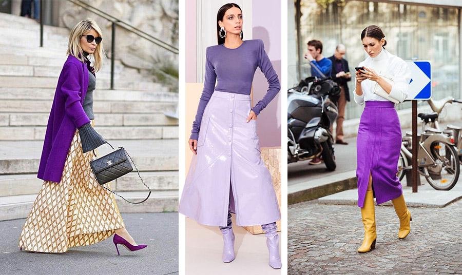 Συνδυάστε το μοβ με το κίτρινο και το λαδί για  μία ξεχωριστή εμφάνιση // Το δέρμα είναι επίσης μόδα! Πόσο μάλλον αν συνδυάσετε μία μίντι δερμάτινη φούστα ασορτί μπότες και μία σκούρα μοβ μπλούζα // Λευκό, μοβ και λαμπερό κίτρινο! Αποκλείεται να περάσετε απαρατήρητες!