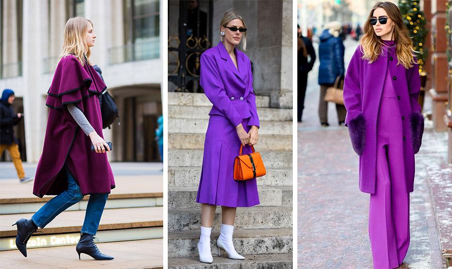 Κλασικό τζιν με μοβ και γκρι για όλη την ημέρα // Φορέστε ένα μοβ κοστούμι ή ταγιέρ και κάντε τη διαφορά με μία πορτοκαλί τσάντα και λευκά μποτίνια // Total look σε μοβ