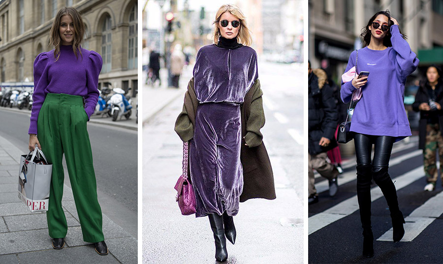 Το σκούρο μοβ με το σκούρο πράσινο κάνουν καλή… «παρέα» // Μοβ βελούδο με λαδί και μία νότα φούξια-μοβ δημιουργεί μία αίσθηση πολυτέλειας // Για όλη μέρα μία μοβ μπλούζα ή πουλόβερ με το μαύρο δερμάτινο παντελόνι σας