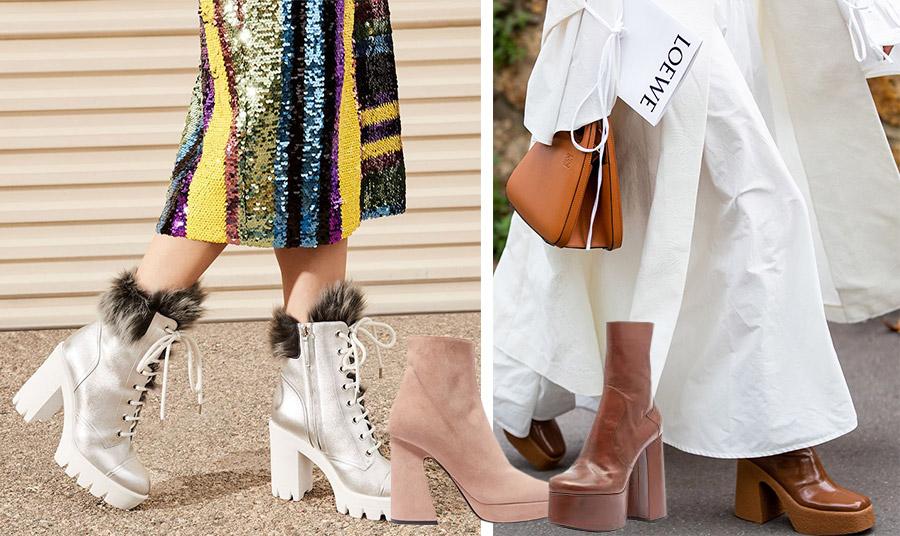 Παγιέτες και μποτάκια-πλατφόρμες σε λευκό χρώμα με γούνα! Η πρόταση από τον διάσημο υποδηματοποιό, Giuseppe-Zanotti // Μπορείτε να φορέσετε ένα μίνιμαλ φόρεμα και μάλιστα σε λευκό χρώμα συνδυασμένο με μποτάκια-πλατφόρμες // Μποτάκια σε ουδέτερο χρώμα από σουέντ, Proenza Schooler // Σε χρώμα ταμπά και στιλ 70s, Saint Laurent