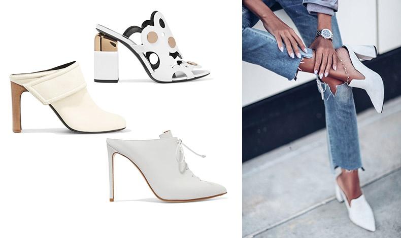 Με τζιν ή φούστα, τα mules αποτελούν μια εξαιρετική επιλογή για το καλοκαίρι // Εντυπωσιακό mule με χρυσές λεπτομέρειες, Pierre Hardy // Σε κρεμ, Rag&Bone // Λευκό με κορδόνι, Francesco Russo