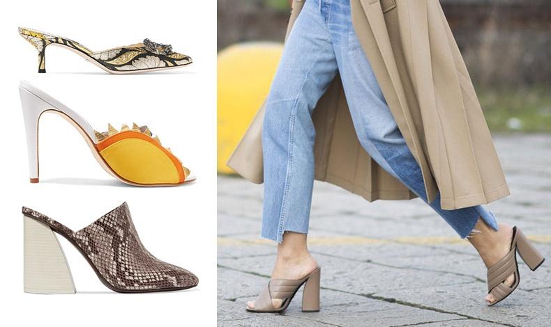 Προτιμήστε να φορέσετε τα mules με κομμένο τζιν με ξεφτισμένο τελείωμα για πιο μοντέρνο look // Με χαμηλό τακούνι, Gucci // Κίτρινο και λευκό, ΜR by Man Repeller // Από δέρμα φιδιού, Mercedes Castillo