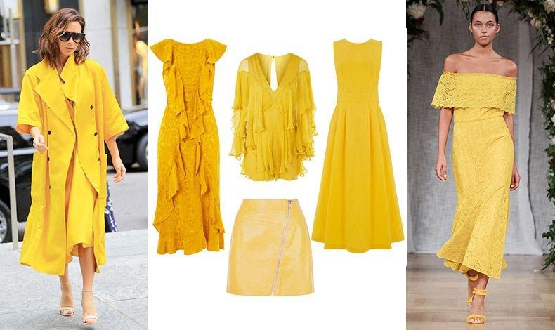 Εμφάνιση στο φουλ του κίτρινου! Γκαμπαρντίνα και φόρεμα, Victoria Beckham // Φόρεμα και μπλούζα, Topshop // Αμάνικο φόρεμα, Warehouse // Δερμάτινη φούστα, New Look // Ρομαντικό κίτρινο, Serafina
