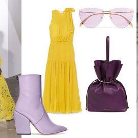 Ειδικά το λαμπερό κίτρινο ταιριάζει υπέροχα με τις αποχρώσεις του μοβ. Και για φέτος χτυπάτε? τζακπότ αφού πρόκειται για τα δύο πιο μοδάτα χρώματα // Μποτάκι, Petar Petrov // Φόρεμα, Gianbattista Valli // Γυαλιά, Alexander McQueen // Τσάντα πουγκί, Emilio Pucci // Από την ανοιξιάτικη συλλογή, Carolina Herrera