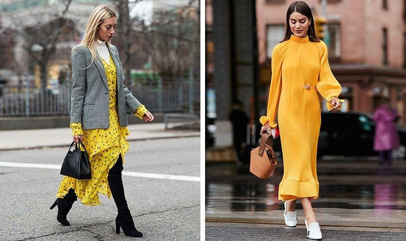 Συνδυάστε ένα κίτρινο φόρεμα με γκρι ή με λευκά παπούτσια