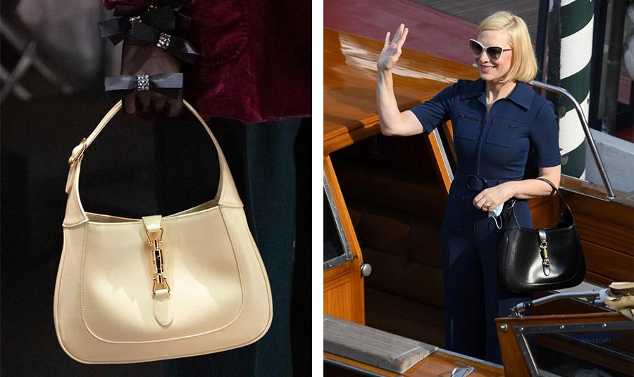 Η νέα εκδοχή της τσάντας Jackie 1961 σε κρεμ χρώμα από την επίδειξη μόδας του οίκου Gucci // Η Κέιτ Μπλάνσετ την κρατά με χάρη περασμένη στο μπράτσο της…