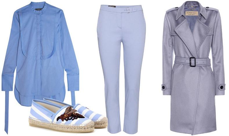 Ένα ακόμη χρώμα που κολακεύει την πλειονότητα των γυναικών είναι ένα μεσαίο μπλε με μια δόση μοβ ή βιολετί . Πουκαμίσα, Ellery // Εσπαντρίγιες, Gucci // Παντελόνι, Loro Piana // Καμπαρντίνα, Burberry