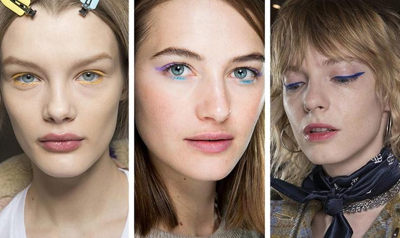 Το eyeliner σε έντονο χρώμα παρουσιάστηκε σε πολλές πασαρέλες: Κίτρινο για τον Dior, μοβ και γαλάζιο για την Tibi ή σκούρο μπλε για τον Calvin Luo
