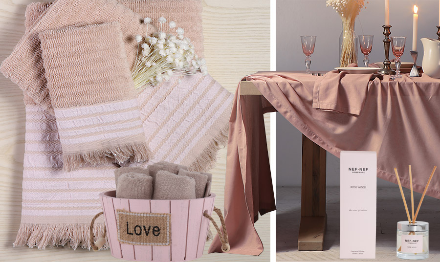 Στη ροζ απόχρωση dusty pink σετ πετσέτες, καλαθάκι με λαβέτες αλλά και ένα υπέροχο τραπεζομάντιλο! Αρωματικό χώρου με στικς Rose Wood, όλα Nef Nef Homeware