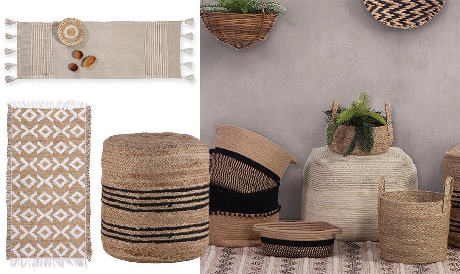 Τα χρώματα και η αισθητική της ερήμου… αναζητήστε τα διακοσμητικά (αλλά και απίθανα χρηστικά) καλάθια σε πολλά σχέδια και μεγέθη, τα πουφ, τα ράνερ για το τραπέζι σας και δώστε μία νέα νότα στο σπίτι σας, όλα από τη νέα συλλογή Nef Nef Homeware