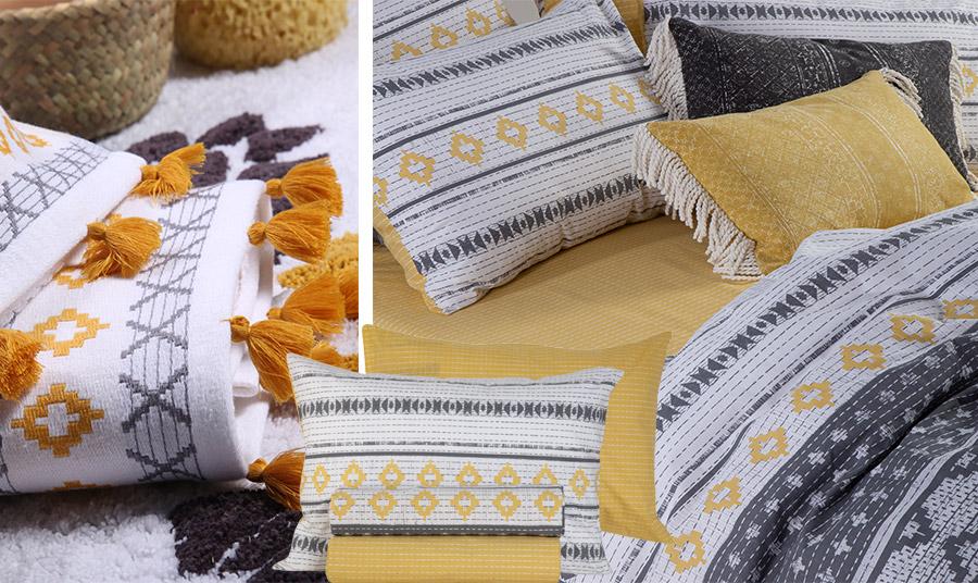 Γεωμετρικά μοτίβα με αφρικανικές επιρροές είτε σε πετσέτες μπάνιου είτε για το κρεβάτι σας