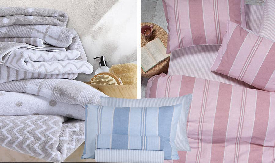 Πουά, ρίγες, ζιγκ ζαγκ σε γκρι-λευκό για τις πετσέτες μπάνιου Chevion // Ριγέ σετ σεντόνια σε γαλάζιο ή ροζ, όλα από τη νέα συλλογή Nef Nef Homeware