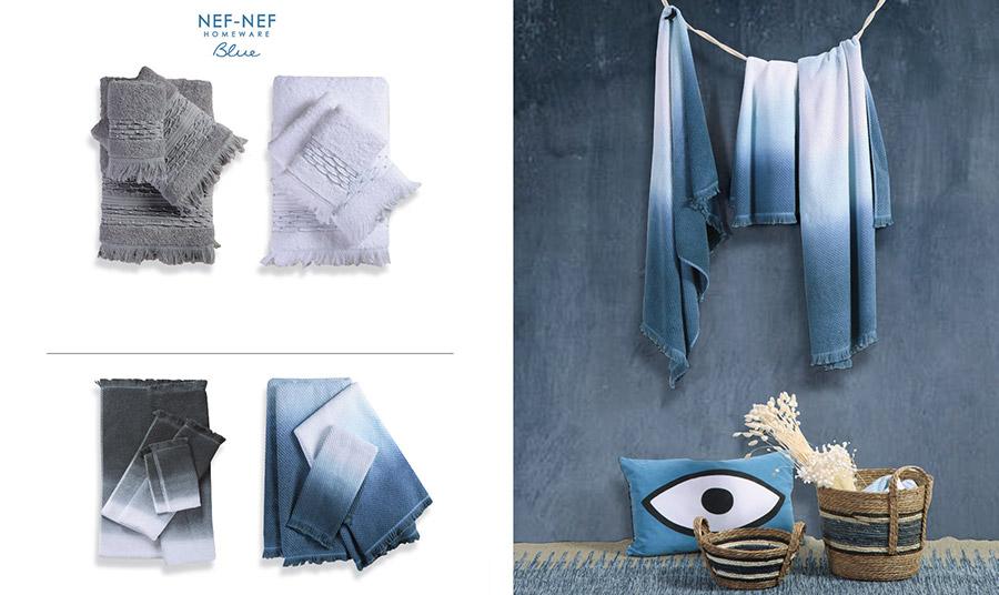 Η κυριαρχία του μπλε! Σετ πετσέτες 3 τεμαχίων, ράνερ με ντεγκραντέ μπλε, κουβερλί και ασορτί μαξιλάρι, πουφ και σετ πετσέτες μπάνιου, όλα από την Blue Collection, Nef Nef Homeware