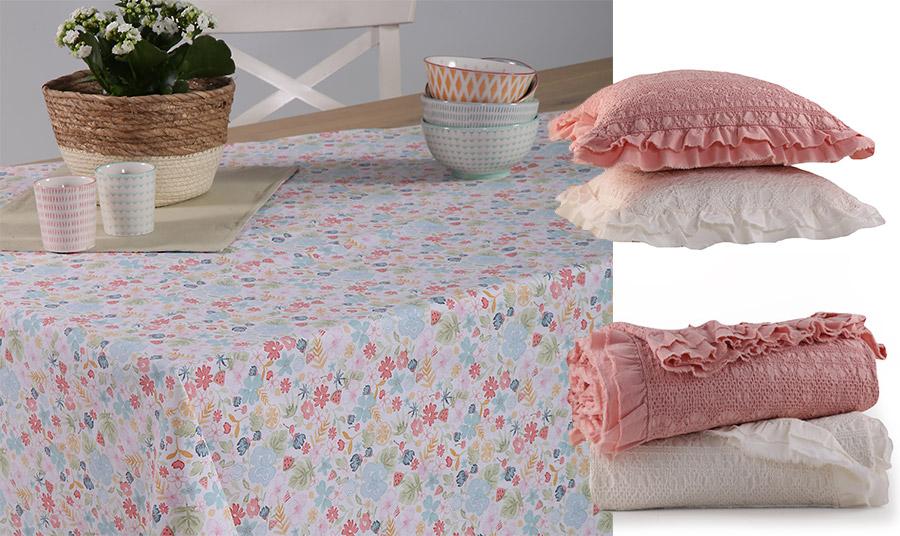 Μικρές ρομαντικές πινελιές! Ένα λουλουδάτο τραπεζομάντιλο με διακριτικά μοτίβα ή λευκά και ροζ κουβέρτες και μαξιλάρια σαν να ξεπηδούν από νοσταλγικές εποχές, Aurelia, Nef Nef Homeware
