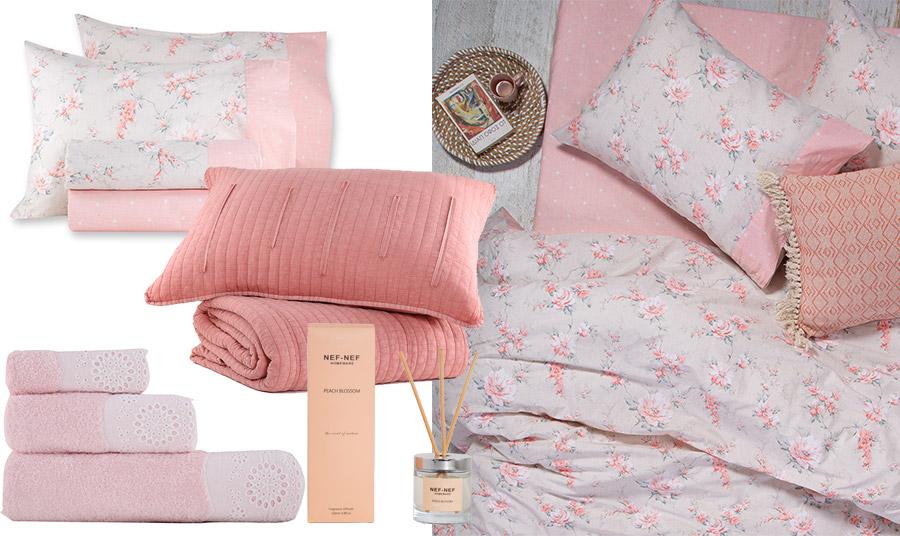 Οι φλοράλ επιλογές είναι πάντοτε στη μόδα και πάντοτε αγαπημένες! Σεντόνια, κουβέρτες αλλά και πετσέτες μπάνιου. Και μην παραλείψετε να αρωματίσετε ρομαντικά τον χώρο σας με το αρωματικό χώρου με στικς Peach Blossom