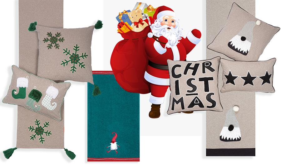 Πείτε τις πιο θερμές ευχές σας με όμορφα δώρα για το σπίτι και μάλιστα σε πολύ οικονομικές τιμές! Ασορτί ράνερ και διαφορετικά μαξιλάρια διακόσμησης, Snow Time // Πετσέτα (σετ 2 τεμαχίων) με γιορτινή διάθεση, Crazy Santa // Σε γήινες αποχρώσεις ράνερ και μαξιλάρια διακόσμησης, όλα NEF NEF Homeware