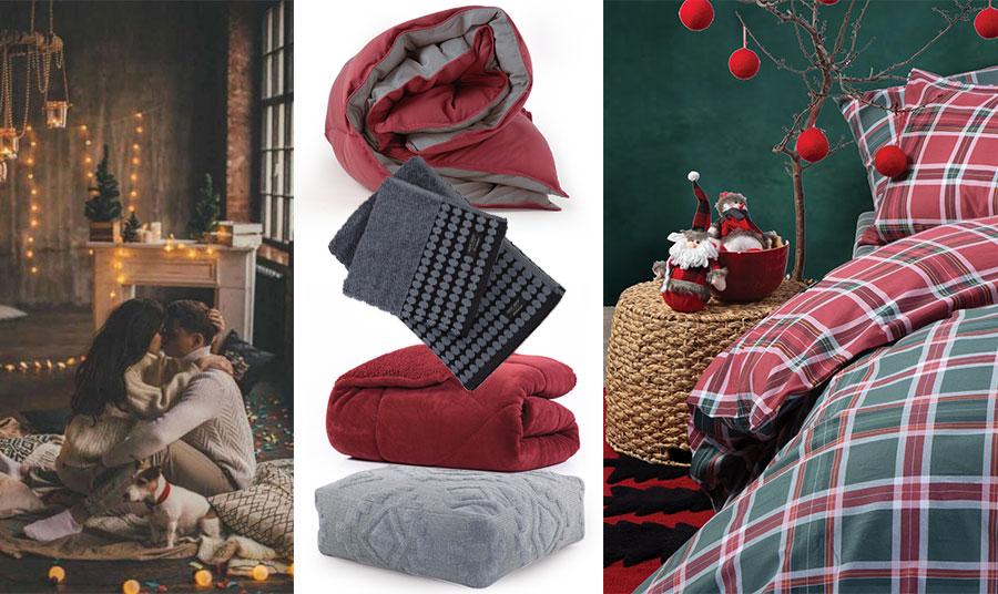 Για «χουχουλιαστές» στιγμές! Οι ημέρες των Γιορτών είναι και μία ευκαιρία για ανάπαυλα… και πολλές αγκαλιές! Πάπλωμα σε κόκκινο-γκρι, Bicolor // Απαλές πετσέτες μπάνιου, Sebastian // Κουβερτοπάπλωμα σε βαθύ κόκκινο χρώμα με βελουτέ υφή και γούνα, Storm Bordo // Μαξιλάρα δαπέδου σε γκρι, Denver // Σετ καρό παπλωματόθηκη σε κόκκινο και πράσινο, Check Spirit Green, όλα NEF NEF Homeware