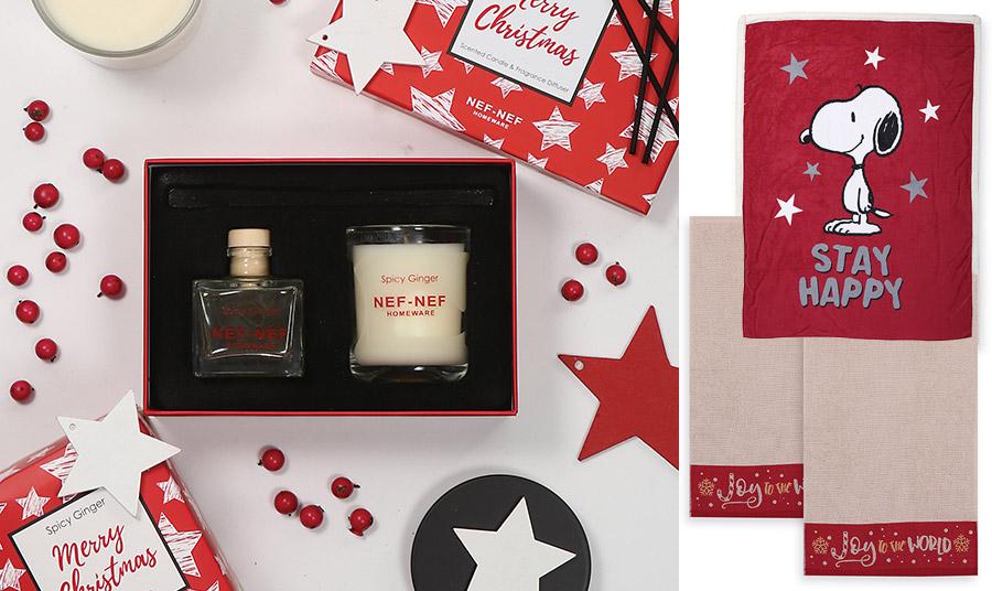 Ένα αρωματικό… δώρο που πάντα είναι ευπρόσδεκτο, όπως το κερί και αρωματικό σε γιορτινό κουτί, με ευωδιά Spicy Ginger // «Stay Happy», μία υπέροχη μαλακή κουβέρτα με τον snoopy, για όσους έχουν παιχνιδιάρικο στιλ // Πετσέτες μπάνιου «Joy to the world»