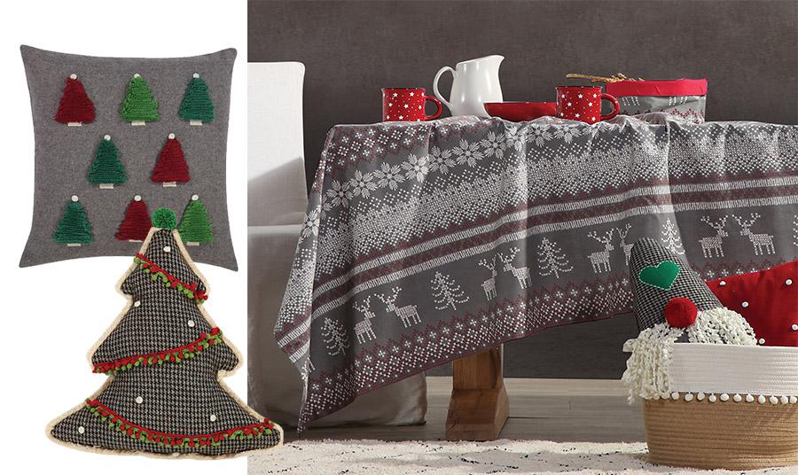 Μαξιλαράκια σε γκρι με κεντημένα δεντράκια ή μαξιλαράκι σε σχήμα χριστουγεννιάτικου δέντρου; // Στρώστε το τραπέζι σας με το χριστουγεννιάτικο τραπεζομάντιλο, Greetings και ξεχωρίστε με το γούστο σας!