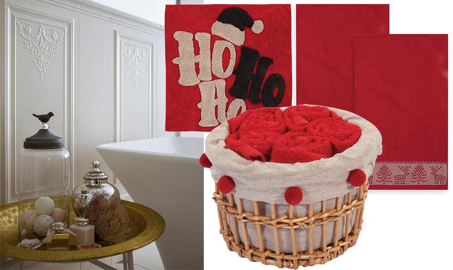 Υπέροχες κατακόκκινες πετσέτες για γιορτινό στιλ στο μπάνιο! Καλαθάκι με μικρές πετσετούλες χεριών ή ένα χαλάκι μπάνιου… που υποδέχεται τον Άγιο Βασίλη;