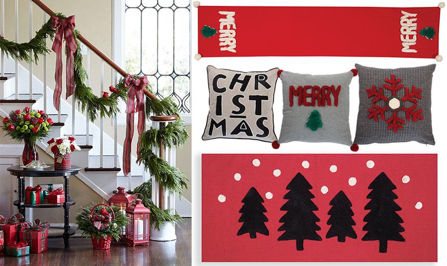 Γιρλάντες, κορδέλες και φαναράκια μπορούν να διακοσμήσουν με γιορτινό πνεύμα ακόμη και την εσωτερική σκάλα // Κόκκινο ράνερ, Christmas Tree // Διάφορα μαξιλαράκια διακόσμησης με χριστουγεννιάτικα μοτίβα // Μακρόστενο ταπέτο, Christmas Forest, όλα NEF NEF Homeware