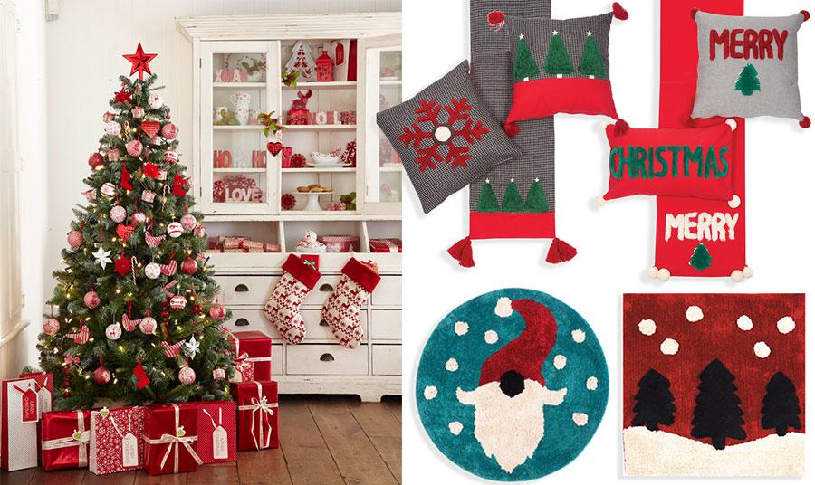 Κόκκινα και λευκά για τον στολισμό του σπιτιού και μερικές πινελιές χριστουγεννιάτικης διακόσμησης: Ασορτί ράνερ, και μαξιλάρια διακόσμησης ή σε κόκκινα χρώματα το ράνερ και το μακρόστενο μαξιλάρι σε συνδυασμό με το γκρι με τις ευχές Merry Christmas; Αν αγαπάτε τον άγιο Βασίλη, ένα στρογγυλό ταπέτο, Crazy Santa ή ένα μακρόστενο με δεντράκια και χιόνια; Όλα από τη συλλογή των Χριστουγέννων, NEF NEF Homeware