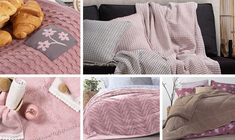 Η ελεγεία των ροζ παστέλ αποχρώσεων… Τραπεζομάντηλο πικέ, Oasis // Απαλά, ζεστά και κομψά ριχτάρια, Vista // Ρομαντικές πετσέτες μπάνιου, Crochet // Κουβέρτα τυπωτή, Visual Pink // Κουβερτοπάπλωμα με βελουτέ επένδυση, Storm Brown, όλα από τη νέα συλλογή Nef Nef Homeware